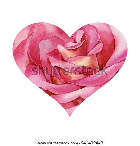 Symbol of love. Rose in shape of heart. Watercolor illustration