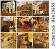 Symbols of Rome. Italy. Triumphal Arch of Constantine, Forum Romanum, Pantheon, Trevi fountain. Collage - stock photo