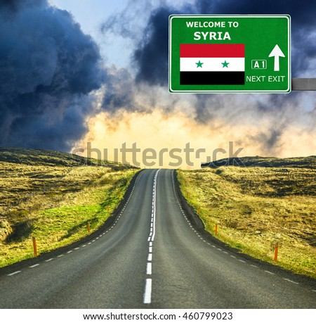 Syria road sign against clear blue sky