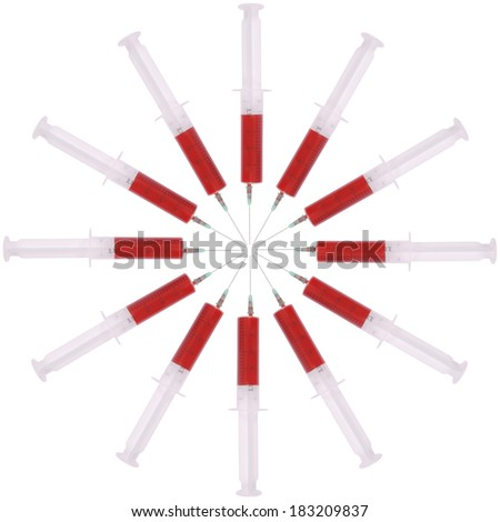 Syringe with medicine on white. Located circumferentially
