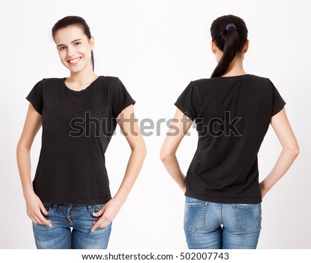 T-shirt design and people concept - close up of young woman in blank black t-shirt, shirt, front and rear isolated.