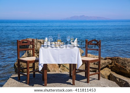 Table for lunch at Navy pier, Greece, Santorini