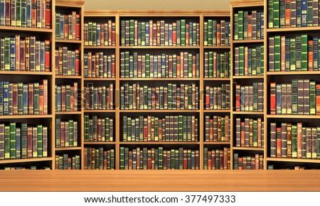 Table On Background Bookshelf Full Books Stock Vector 457942666