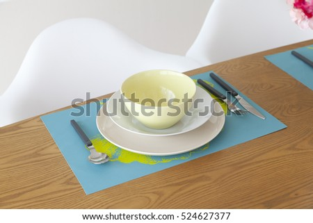 table setting on dining table,green tone