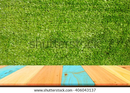 Table Top And artificial grass  Of The Background