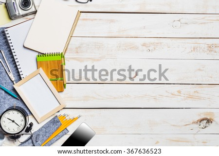 Table top with various stationery