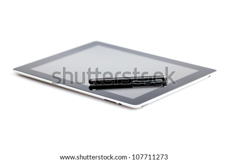 tablet and stylus isolated on white