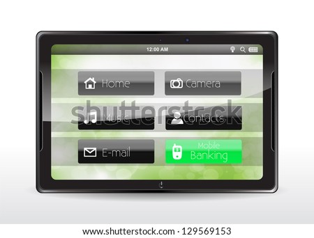 "Tablet concept with a green ""Mobile Banking"" button"