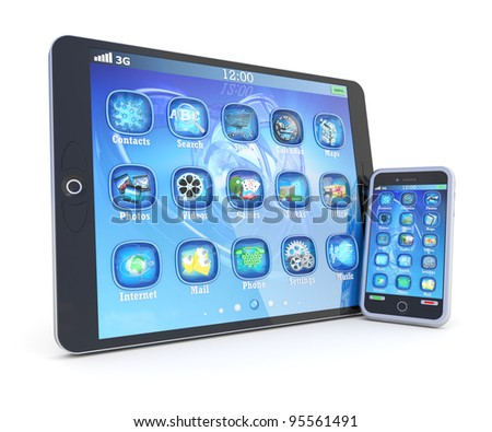 Tablet PC and smartphone with 3d applications isolated on white