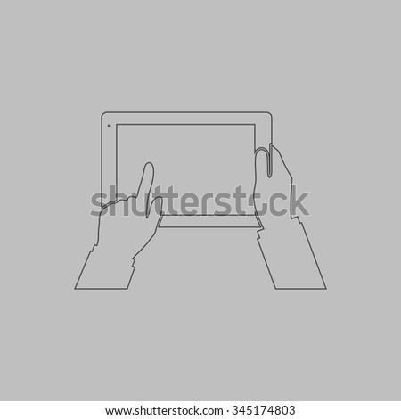 Tablet PC in human hands. Flat outline icon on grey background