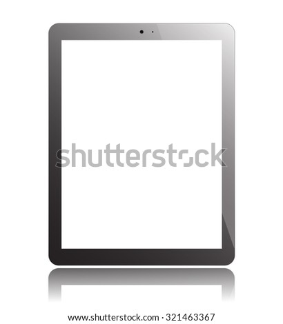 Tablet PC Isolated on White Background. Display Computer Pad. Mockup Design.