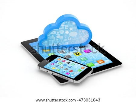 tablet pc, smart phone and cloud. 3d rendering.