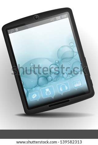 Tablet pc with bubble background.