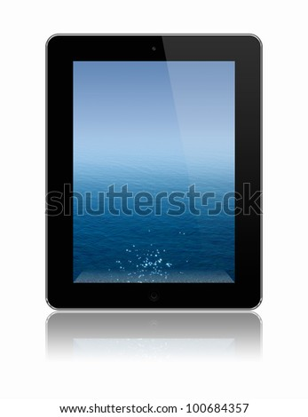 tablet pc with sea on a screen