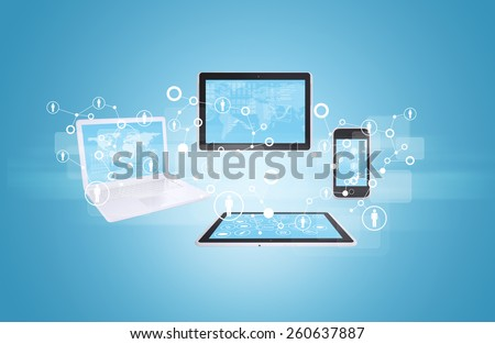 Tablet, phone and laptop connect people all over world. Blue gradient background