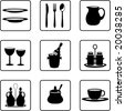 tableware objects silhouettes (also available in vector format) - stock vector