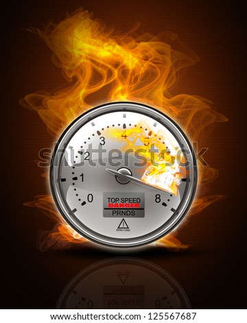 Tachometer on fire Black Background. High resolution. 3D image