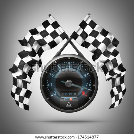 tachometer. Two crossed checkered flags. High resolution 3d render
