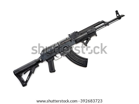 Tactical custom built rifle on white background, shallow depth of field