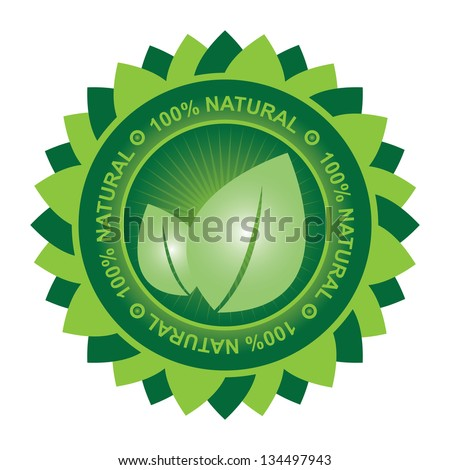 Tag or Badge For 100 Percent Natural Sign Present By Green Leaf Icon With Leaf Around Isolated on White Background