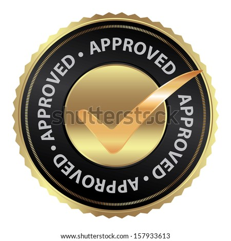 Tag, Sticker, Label or Badge For Product Certification or Product Verification Present By Golden Approved Icon With Check Mark Sign Inside Isolated on White Background