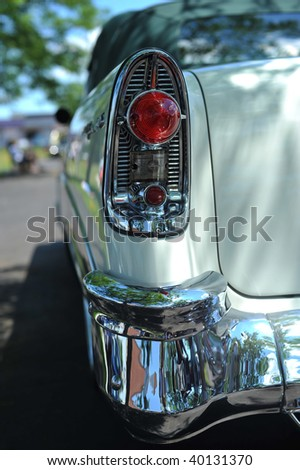 Tail-light and bumper of antique car
