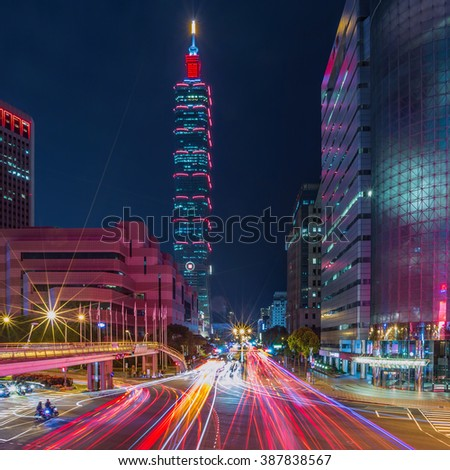 Taipei cityscape at twilight in Taiwan city.