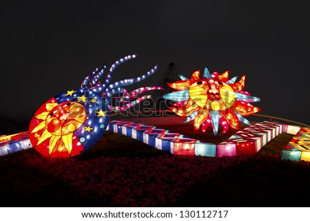 TAIPEI - FEBRUARY 22: novel Chinese lanterns light up celebrating LANTERN Festival, known as Yuanxiao Festival, on FEBRUARY 22, 2013 in TAIPEI, TAIWAN. It held annually in January of Lunar calendar.