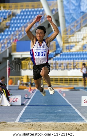 TAIPEI, TAIWAN - OCT 26: athlete in the all-Taiwan national track and field games in Taipei stadium on October 26, 2012 in Taipei, Taiwan
