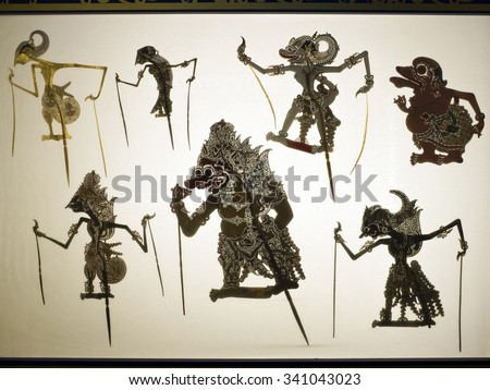 Taipei, Taiwan - OCT 06, 2015: shadow puppetry play in Puppetry Art Center of Taipei.a type of opera using cloth puppets that originated during the 17th century in China.