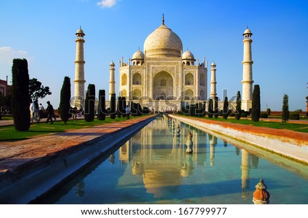 Taj Mahal front with reflection in water