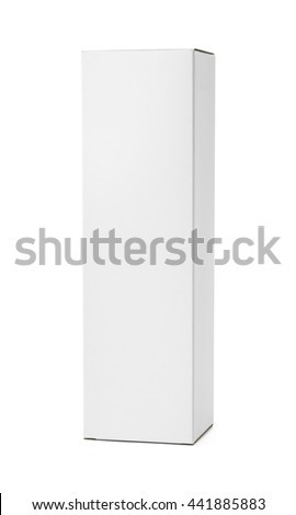 Tall White Product Box with Copy Space Isolated on White Background.