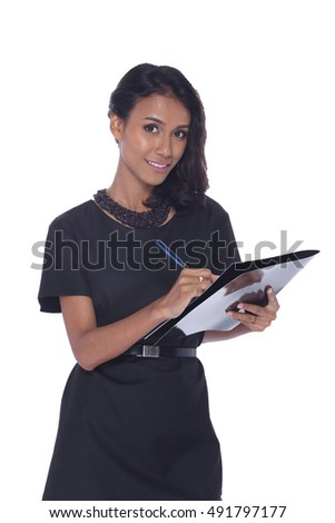 Tan Skin Asia Business Working Woman Model in Black dress executive look, isolated, half body with paper file and pen