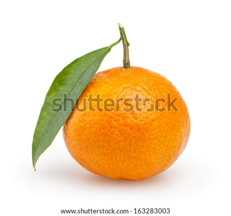 Tangerine with leaf isolated on white background with clipping path