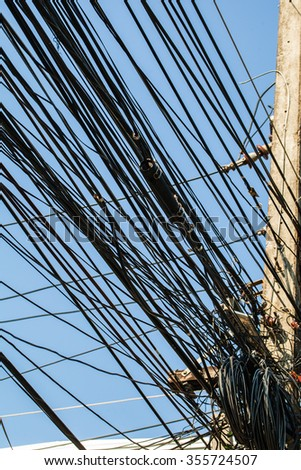 Tangled Electrical Wire On Electricity Post Stock Photo 355724531 ...