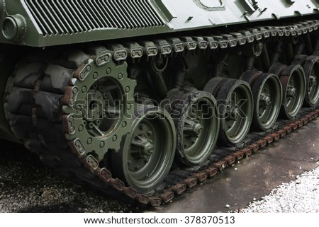 tank caterpillar closeup