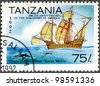 TANZANIA - CIRCA 1992: A stamp printed in Tanzania devoted to 500th anniversary of the discovery of America, shows Ships of Columbus �¢??Santa Maria�¢?�, circa 1992 - stock photo