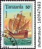"TANZANIA - CIRCA 1994: A stamp printed in Tanzania from the ""Sailing Ships"" issue shows a Caravel, circa 1994.  - stock photo"