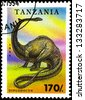 "TANZANIA - CIRCA 1994: Postage stamps printed in Tanzania shows a dinosaur Diplodocus, with the same inscription, from the series ""Prehistoric Animals"" circa 1994 - stock photo"