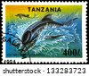 "TANZANIA - CIRCA 1994: Postage stamps printed in Tanzania shows a Eschrichtius Gibbosus, with the same inscription, from the series ""Endangered Species"" circa 1994 - stock photo"