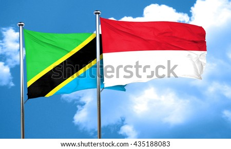 Tanzanian flag with Indonesia flag, 3D rendering