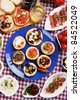Tapas collection, various cold meal used in mediterranean countries - stock photo