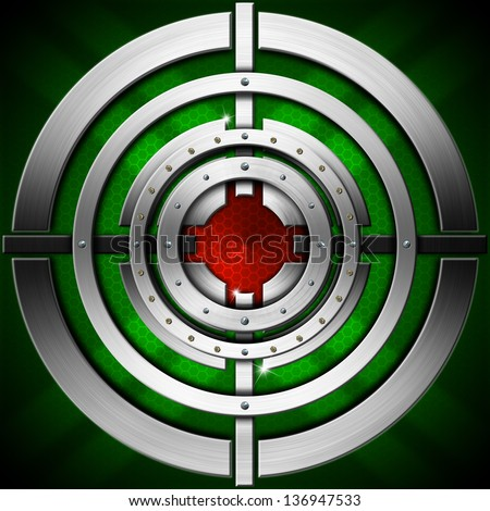 Target - Green Red and Metal Background / Metallic, green and red futuristic background with stylized target
