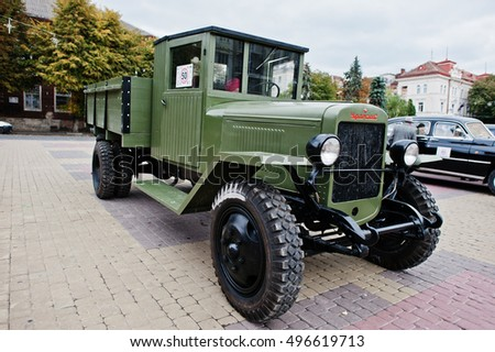 Tarnopol, Ukraine - October 09, 2016: ZIS-5 was a 4x2 Soviet truck produced by Moscow ZIS factory from 1932 to 1958