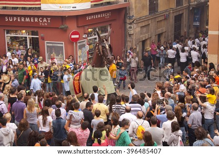 TARRAGONA, CATALONIA, SPAIN. 23 SEPTEMBER 2015. The Santa Tecla Festival in Tarragona. The march through the city center.