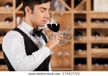 Tasting wine. Cropped image of confident young sommelier standing in front of shelf with wine bottles and keeping arms crossed