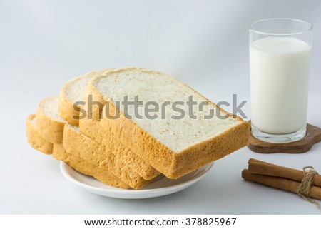 Tasty fresh sliced white bread for breakfast.