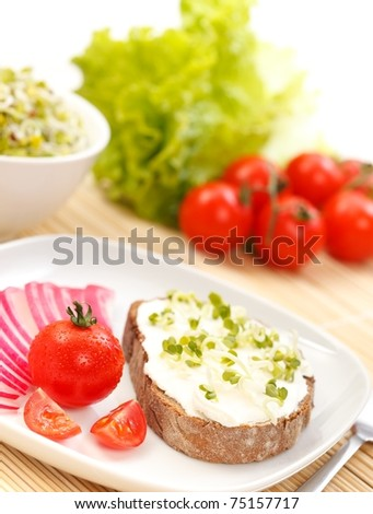 Tasty sandwich with cream cheese, germ and vegetables