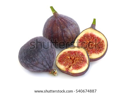 Tasty two figs and slices with  isolated on white background