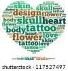 Tattoo info-text graphics and arrangement concept on white background (word cloud) - stock vector
